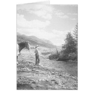 Boy fly fishing in a creek card