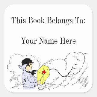 Boy Flying a Kite Custom Bookplate Sticker