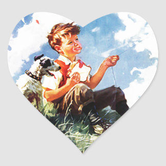 Boy Flying A Kite Heart Sticker