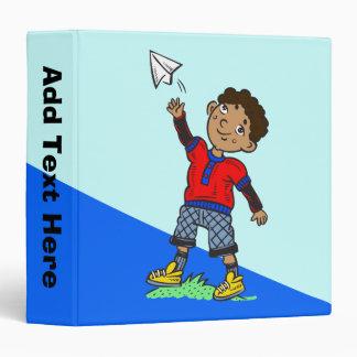 Boy Flying Paper Airplane Binder