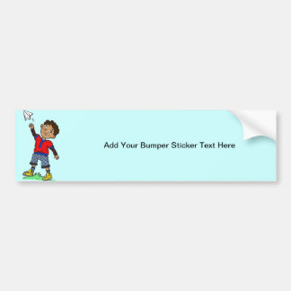 Boy Flying Paper Airplane Bumper Sticker