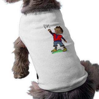 Boy Flying Paper Airplane Dog T-shirt