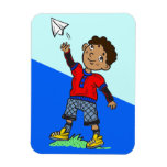 Boy Flying Paper Airplane Magnet