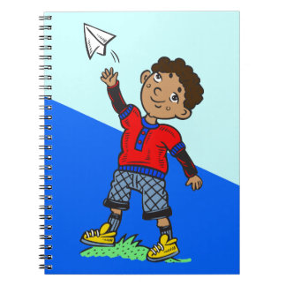 Boy Flying Paper Airplane Notebook