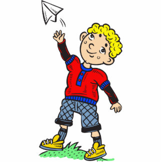 Boy Flying Paper Airplane Cut Outs