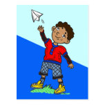 Boy Flying Paper Airplane Postcard