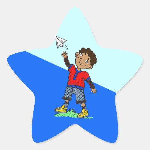 Boy Flying Paper Airplane Star Sticker