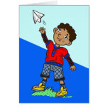 Boy Flying Paper Airplane Stationery Note Card