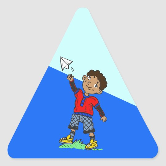 Boy Flying Paper Airplane Triangle Sticker