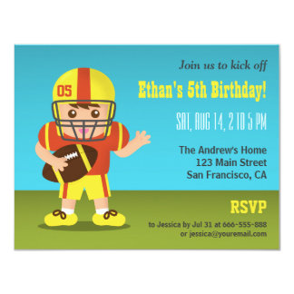 """Boy Football Birthday Party Invitations 4.25"""" X 5.5"""" Invitation Card"""