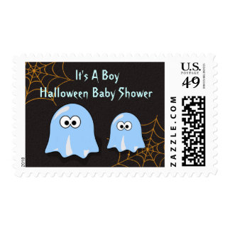 Boy Ghost Halloween Baby Shower Postal Stamps
