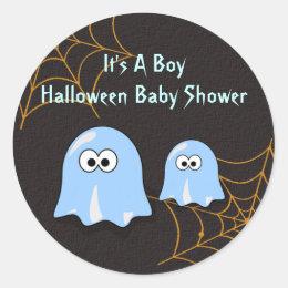 Boy Ghost Halloween Baby Shower Stickers