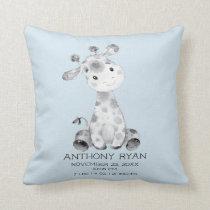 Boy Giraffe Baby Birth Stats Pillow