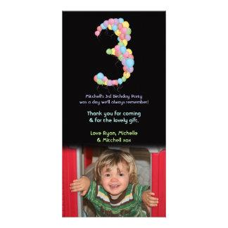 Boy Girl 3rd Birthday Balloons Thank You Photo Card