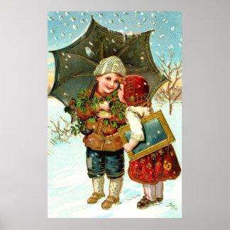 Boy, girl and umbrella poster