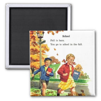 Boy & Girl Back to School 2 Inch Square Magnet