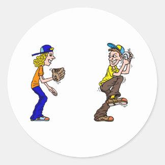 Boy & Girl Catch Classic Round Sticker