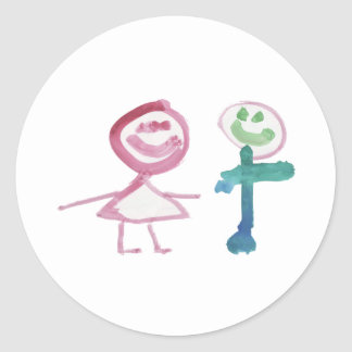 Boy & Girl Classic Round Sticker