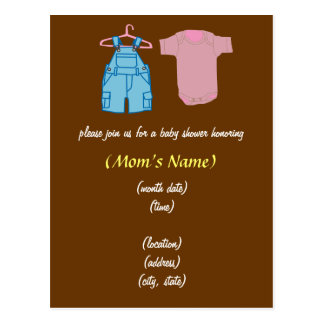 Boy & Girl Clothes-Gender Neutral Baby Shower Postcard