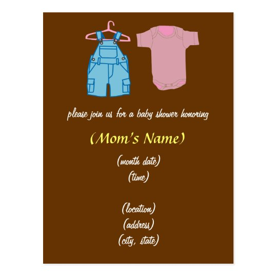 Boy & Girl Clothes-Gender Neutral Baby Shower Postcard