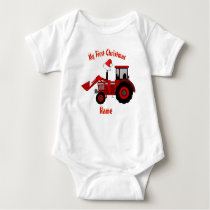 Boy Girl First Christmas Personalized RED TRACTOR Baby Bodysuit