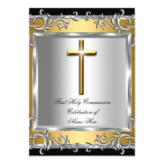Boy Girl First Holy Communion Silver Gold 2 5x7 Paper Invitation Card