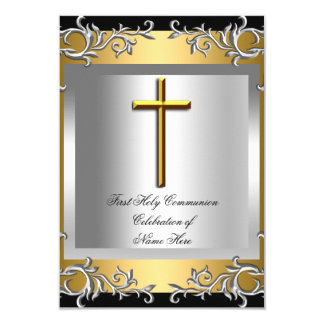Boy Girl First Holy Communion Silver Gold Small 3.5x5 Paper Invitation Card