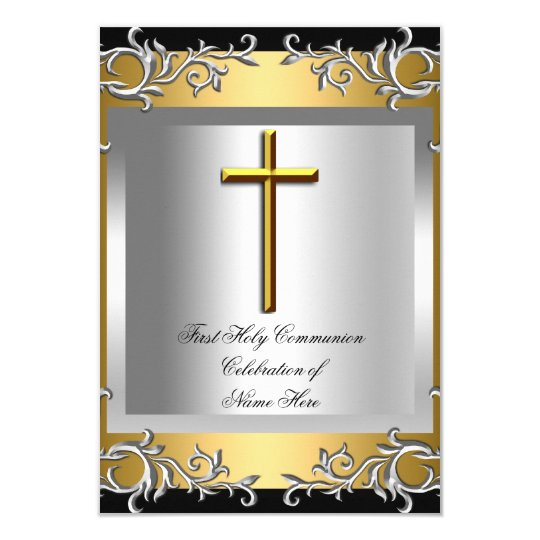 Boy Girl First Holy Communion Silver Gold Small Card