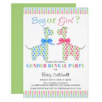 Boy Girl Giraffe Gender Reveal Party Invitation