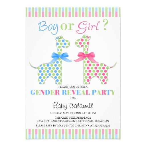 Boy Girl Giraffe Gender Reveal Party Personalized Invite