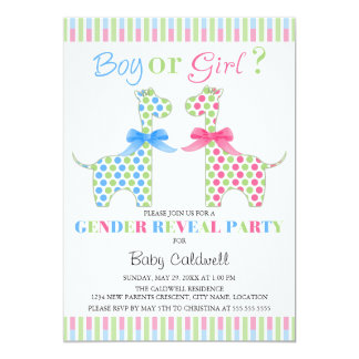 Boy Girl Giraffe Gender Reveal Party 5x7 Paper Invitation Card