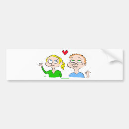 boy girl heart kaitlin bumper sticker