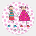 Boy + Girl = Love Cute Valentine Gift Sticker