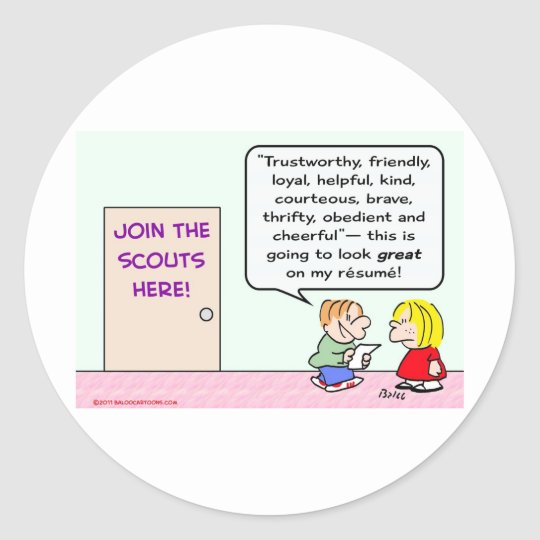 boy girl scouts join great resume classic round sticker
