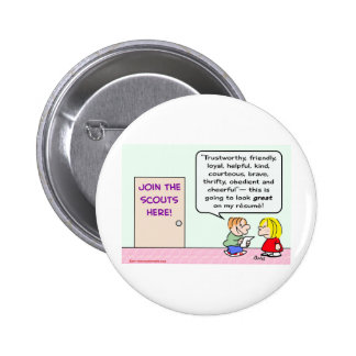 boy girl scouts join great resume pinback button