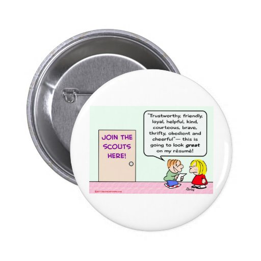 boy girl scouts join great resume pinback button | Zazzle