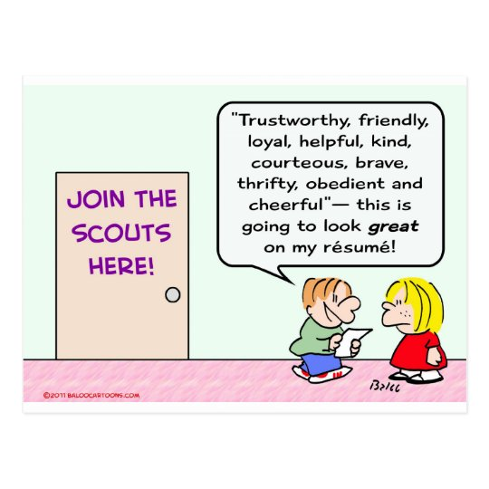 boy girl scouts join great resume postcard