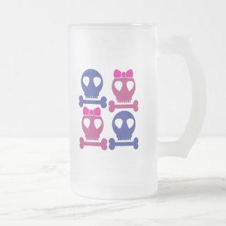 BOY GIRL skulls Rockabilly design Frosted Glass Beer Mug