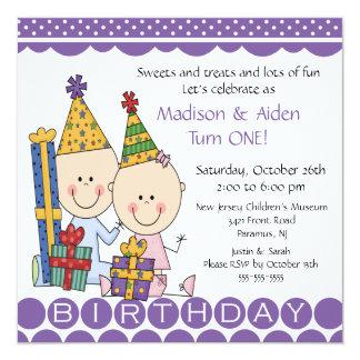 "Boy & Girl Stick Figure Twins Birthday Invitation 5.25"" Square Invitation Card"