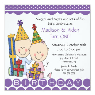 Boy & Girl Stick Figure Twins Birthday Invitation