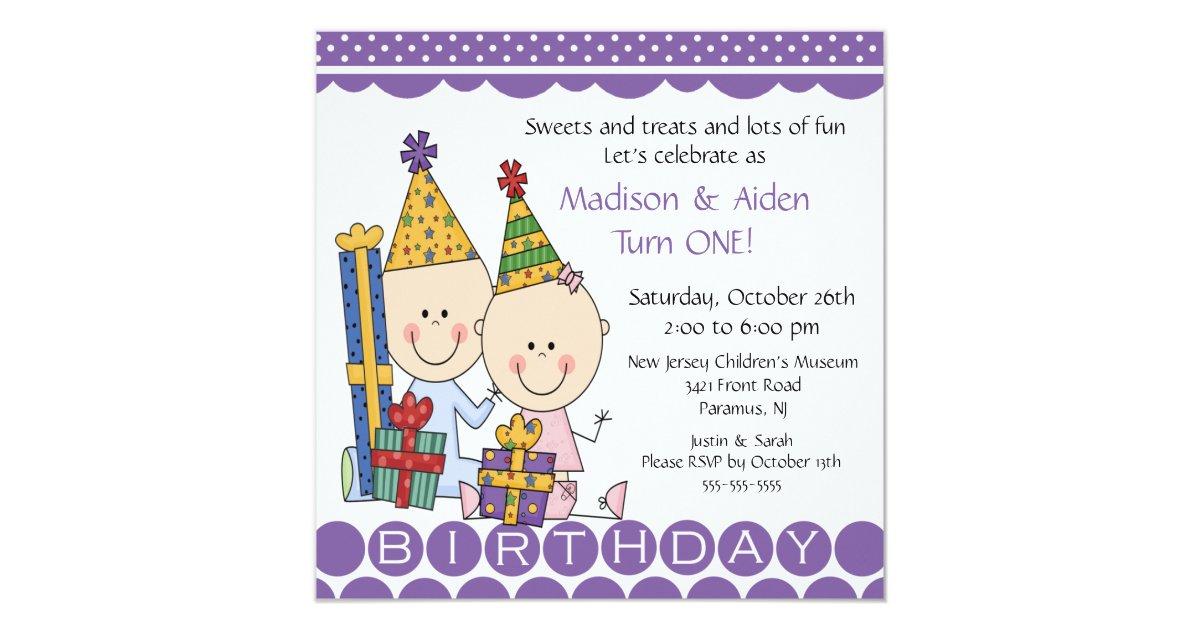 Boy Girl Stick Figure Twins Birthday Invitation Zazzle Com
