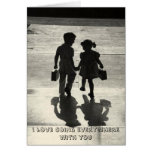 Boy & Girl True Love Greeting card holding hands