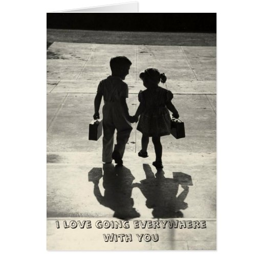 Boy & Girl True Love Greeting card holding hands