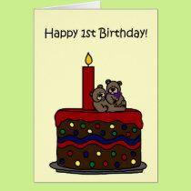 boy-girl twin bears on cake 1st birthday card