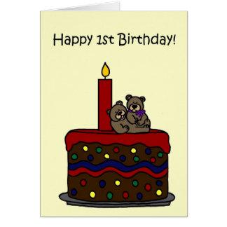 boy-girl twin bears on cake 1st birthday greeting cards