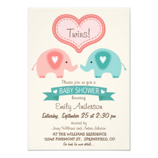 Boy & Girl Twin Pink & Teal Elephants Baby Shower 5x7 Paper Invitation Card