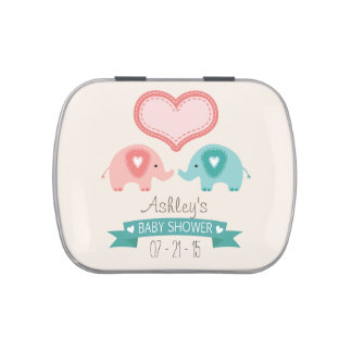 Boy & Girl Twin Pink & Teal Elephants Baby Shower Candy Tin