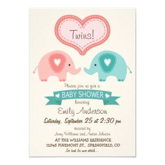 Boy & Girl Twin Pink & Teal Elephants Baby Shower Card