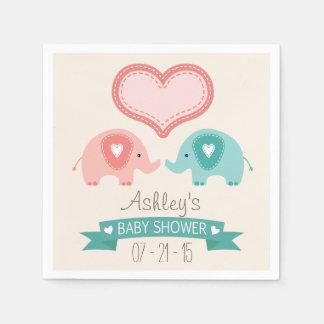 Boy & Girl Twin Pink & Teal Elephants Baby Shower Paper Napkin