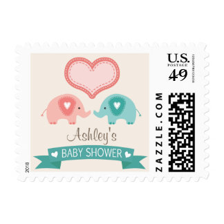 Boy & Girl Twin Pink & Teal Elephants Baby Shower Postage